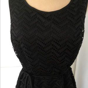 Black Crochet Overlay Maxi Dress
